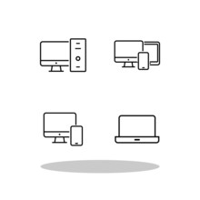 Computer Icon Set In Flat Style. Laptop Symbol For Your Web Site Design, Logo, App, UI Vector EPS 10.