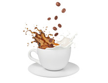 Milk Coffee Splash In White Cu...