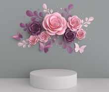 Podium Display Design With Paper Art Pastel Color Flower Abstract Background, 3d Rendering.
