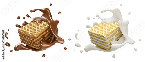 Fototapeta set of Pile of square wafer biscuit with chocolate and milk splash, 3d rendering. obraz