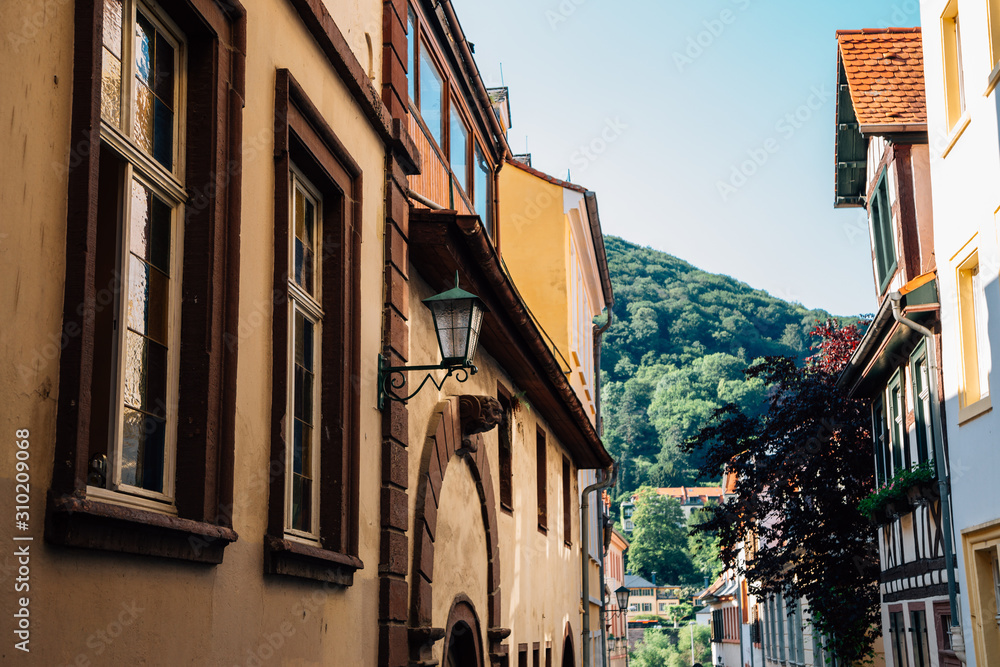 Old town street in Heidelberg, Germany
