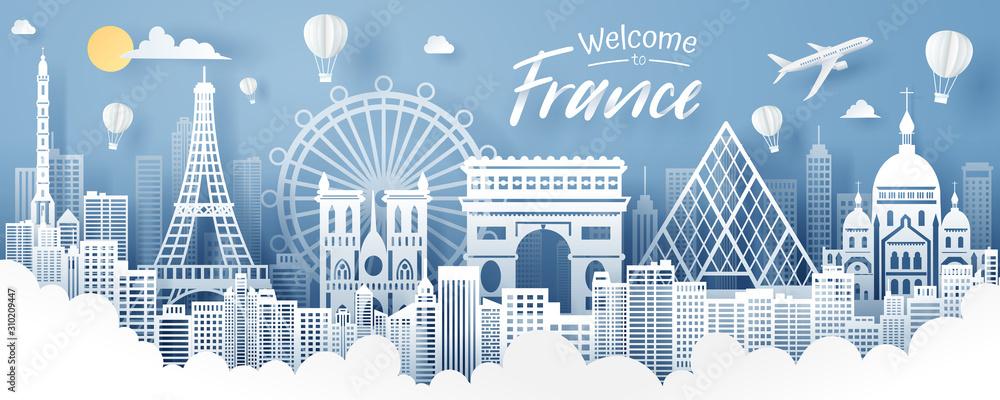 Fototapeta Paper cut of France landmark, travel and tourism concept.