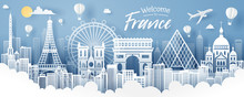 Paper Cut Of France Landmark, Travel And Tourism Concept.