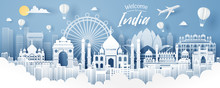 Paper Cut Of India Landmark, Travel And Tourism Concept.