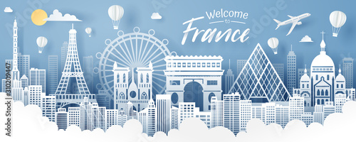 Obraz Paper cut of France landmark, travel and tourism concept. - fototapety do salonu