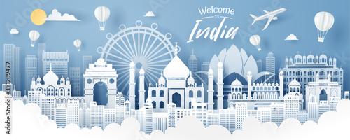 Obraz Paper cut of India landmark, travel and tourism concept. - fototapety do salonu