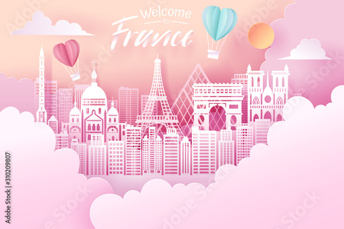 Paper cut of France landmark, travel and tourism concept. Canvas