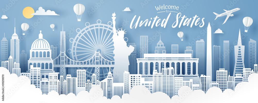 Fototapeta Paper cut of USA landmark, travel and tourism concept.