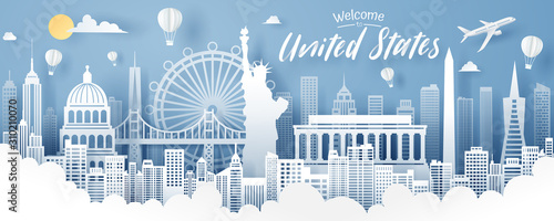 Foto Paper cut of USA landmark, travel and tourism concept.