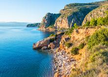 Greek Coastline With Rocky Cli...
