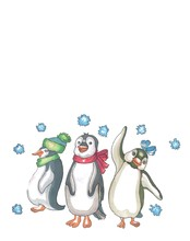 Three Penguins In Scarves And ...