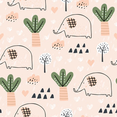 Baby seamless pattern with tropical forest and elephant. Perfect for kids fabric, textile, nursery wallpaper. Pink background. Seamless landscape. Scandinavian style