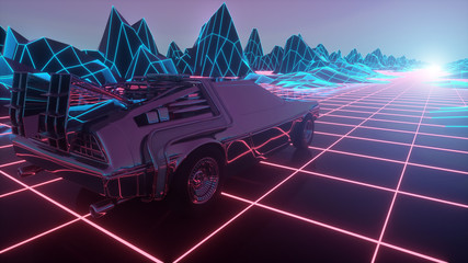 Retro futuristic car in 80s style moves on a virtual neon landscape. 3d illustration
