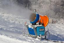 Snowmaking By Snow Cannon At Jaworzyna Krynicka Mountain Ski Area. Krynica-Zdroj Resort, Poland.