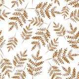 Złote gałęzie paproci. Akwarela ręcznie rysowane wzór. - 310222898