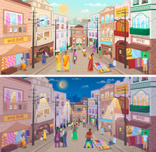 Collection Of Streets In India, People Wearing Traditional Clothes Walking Along Roads In Asian Country At Night And Day. Cityscape With Buildings And Houses, Citizens And Shops. Vector In Flat