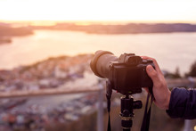 A Camera On Tripod  Is Photogr...