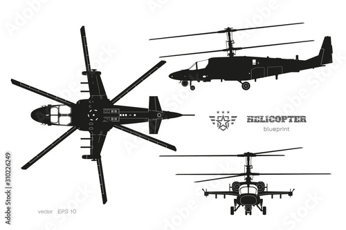 Fotografía Black silhouette of military helicopter