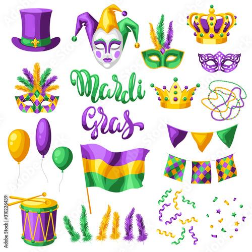 Mardi Gras party set of items. Fototapeta