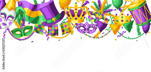 Stampa su Tela Mardi Gras party greeting or invitation card.