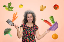 Woman Flying Vegetables Eat Healthy