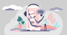 Assistant Business Robot Automation, Vector Illustration Concept