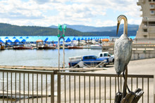 A Realistic Pelican Statue Figurine Sits And Watches Over The Boat Launch And Floating Boardwalk At The Coeur D'Alene Idaho Resort Marina