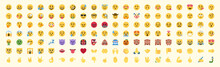 All Emojis Vector Set. All Face And Hand Gestures, Emoticons Vector Icons Illustrations Collection
