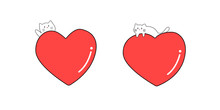 Cute White Cat With Big Red Heart ,Valentine's Day Concept