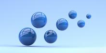 Falling Blue Balls In The Blue Background. 3d Render Illustration For Advertising.
