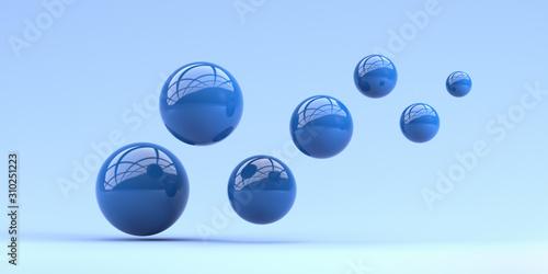 Falling blue balls in the blue background. 3d render illustration for adverti...