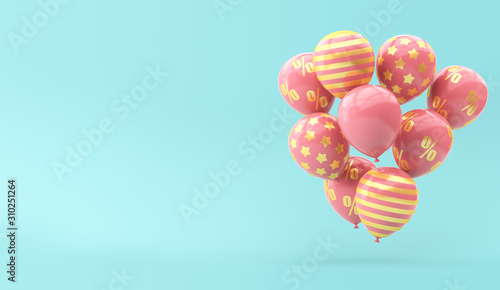 Photo  Pink balloons with golden percent on a blue background