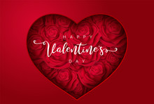 Heart With Roses, Love Or Happy Valentine's Day For Flyer ,poster, Banner, Card. Beautiful Backdrop