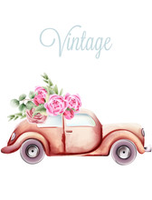Vintage Pink Car With Rose Flowers And Green Leaves On The Roof. Watercolor Vector