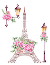 City Lamps And Eiffel Tower De...