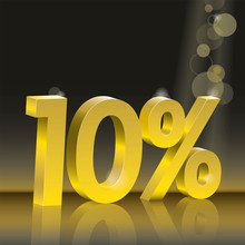 Discount 10 Percent Off. Golden Numbers On Black Background. Poster To Announce Sales.