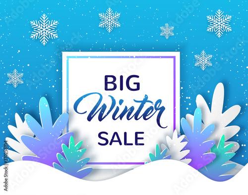 Valokuvatapetti Design for winter sale with fir