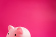 Leinwanddruck Bild - Piggy Bank pig pink on solid background with hard light, minimal style
