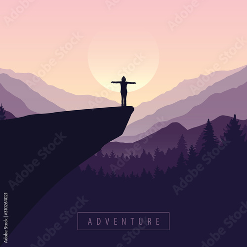 Fotografie, Tablou  hiking adventure girl on a cliff in at sunrise with mountain view vector illustr