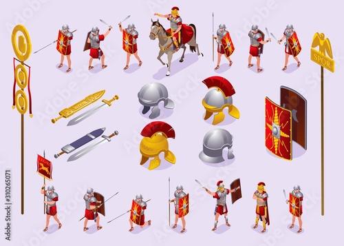 Fototapeta Roman Legionaries Set isometric icons on isolated background