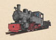 Retro steam locomotive and coal-car