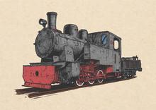 Retro Steam Locomotive And Coal-car