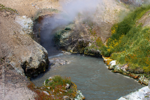 Acidic mud pool in the Mud Volcano in Yellowstone National Park Canvas Print