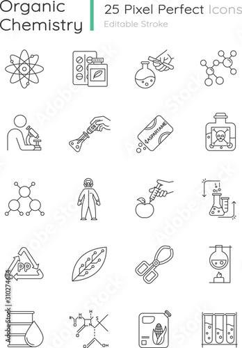 Cuadros en Lienzo  Science experiment linear icons set