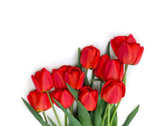 Beautiful Red Tulips On White Background With Space For Text. Top View, Flat Lay