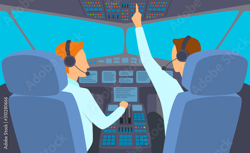 Vászonkép Cartoon Color Characters People and Airplane Cockpit Interior Inside Concept