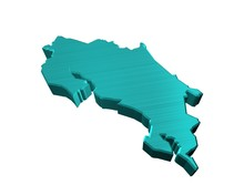 3d Illustration Of Country Map Of Costa Rica