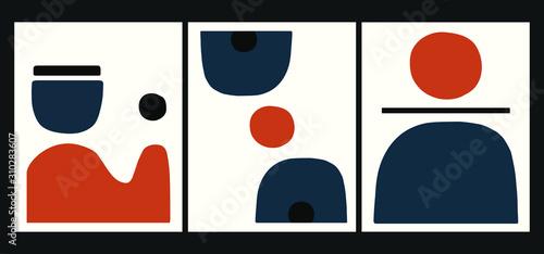 Fotografía minimalist geometrical abstract art mid century modern style Orange and Blue art