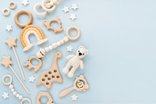 Cute Wooden Baby Toys On Light...
