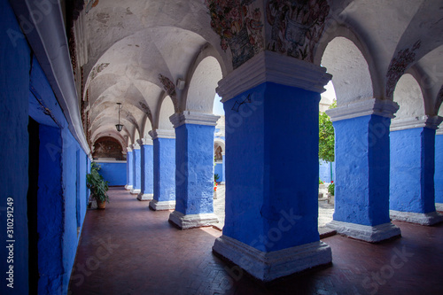 Blue columns monastery Saint Catalina, Arequipa, Peru Canvas-taulu